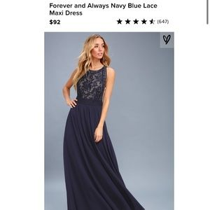 Lulu's Forever and Always Lace Maxi Dress in Navy